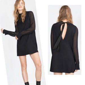 ZARA Black Sheer Long Sleeve Tie Back Dress